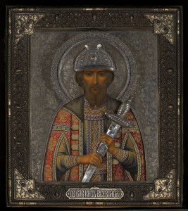 LOT 613. A RARE ICON OF THE HOLY PRINCE VSEVOLOD MOSCOW, 1899-1908, 84 STANDARD. 70,000–100,000 GBP