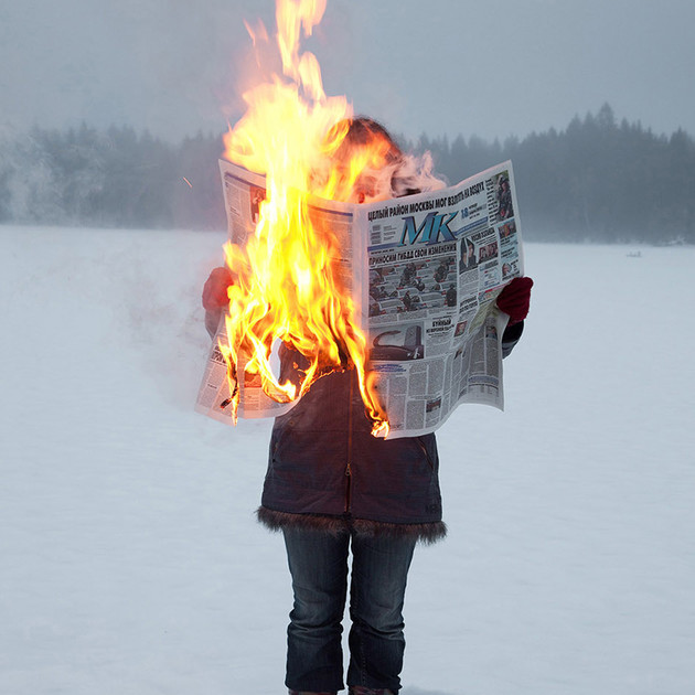 Tim Parhikov, Burning News series, courtesy of Hayward Gallery