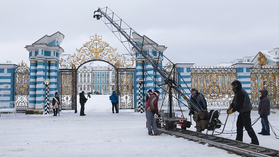 Filming War and Peace outside Catherine Palace, Tsarskoe Selo / Courtesy of BBC