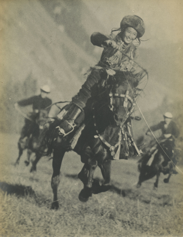 Maks Alpert, Kyrgyz Girl Leading in a Horse Racing Competition, gelatin silver print, photographed and printed c. 1936, 25.5 by 20.5 cm. £1,000–2,000 / Courtesy of MacDougall's