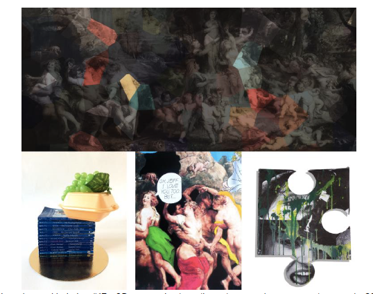 (Top) Inga Krymskaya - Variation #17 – 3D parts, mixed media and watercolour on wooden panel - 200cm x 92cm (Bottom L-R) Bex Massey – Feast of Venus, Renata Kopac' Rubens meets Lichtenstein and Klaus Pinter The Lost Piece / Courtesy of Curzon PR