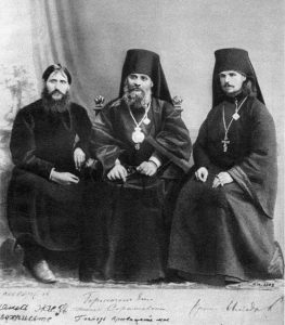 Rasputin, Hermogen and Iliodor in 1906. Alexandra ordered Hermogen banished to a monastery, after he beat Rasputin with a crucifix; Iliodor went into exile after the attack by Khioniya Guseva in June 1914.