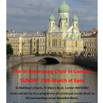 EVENT: Sacred Russian Music Performed by St Petersburg Chamber Choir, 19 March