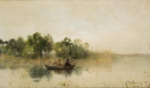 "Ivan Pokhitonov's Masterpiece ""Duck Hunters on a Lake"" to be Auctioned at 25 Blythe Road on 5th April"