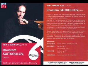 CONCERT: Roustem Saitkulov to Give Solo Performance at Salle Gaveau in Paris, 3 March.