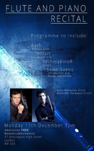 Flute and Piano Recital, Rossotrudnichestvo, 11 December
